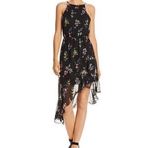 Aqua Floral Print Asymmetric Dress